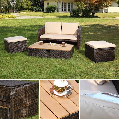 2Sitzer Rattan Sofa,Ottoman und Tisch - braun
