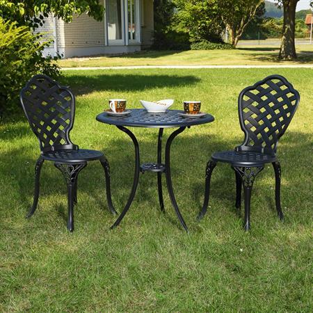 Garten Tisch mit 2 Stühlen aus Aluminium - schwarz