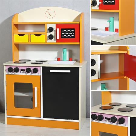 Spielküche / Kinderküche aus Holz - orange