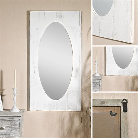 Wandspiegel aus Holz in Shabby Weiß