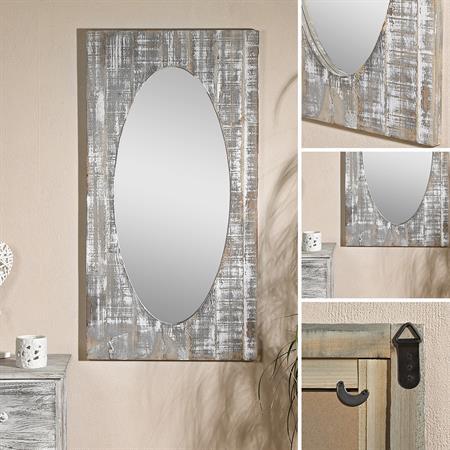 Wandspiegel aus Holz in Shabby Braun