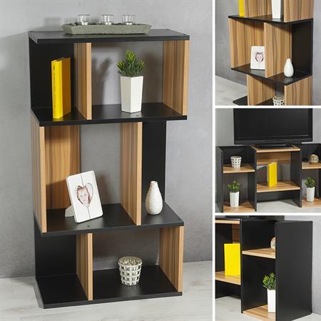 Raumteiler Bücherregal Regal in Schwarz / Braun