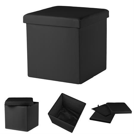 Faltbarer Sitzhocker Aufbewahrungsbox - Schwarz