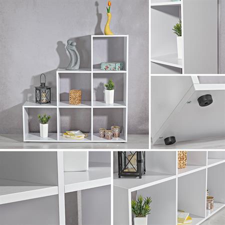 Treppenregal Raumteiler Bücherregal - weiß