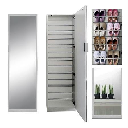 Schuhschrank - mit Spiegeltür - 5 Fächer - weiß