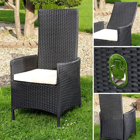Verstellbarer Rattan Sessel inkl. Kissen - Schwarz
