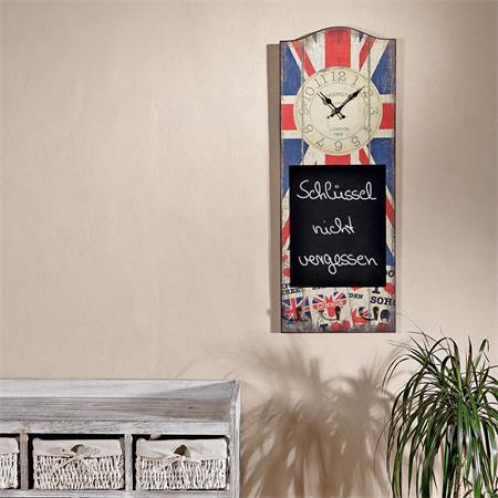 Wanduhr Uhr mit Tafel und 3 Kleiderhaken - England