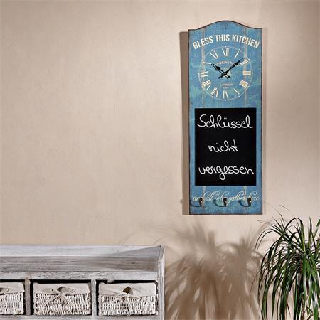 Wanduhr Uhr mit Tafel und 3 Kleiderhaken - Grün