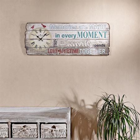 shabby holz bild board mit wanduhr uhr moment. Black Bedroom Furniture Sets. Home Design Ideas