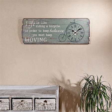 shabby holz bild board mit wanduhr uhr moving. Black Bedroom Furniture Sets. Home Design Ideas