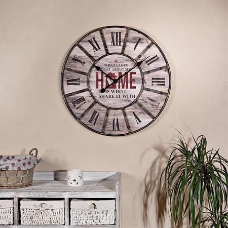 Antike Wanduhr Uhr aus Holz und Metall shabby