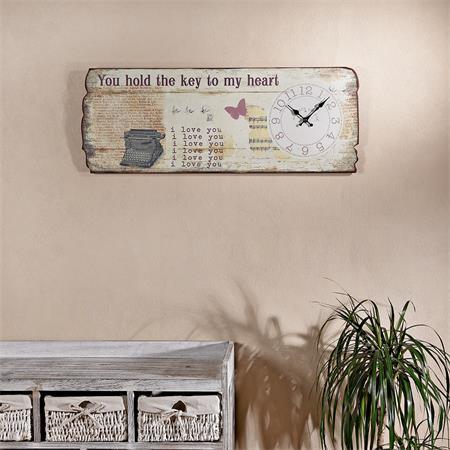 Shabby Holz Bild Board mit Wanduhr Uhr - Heart