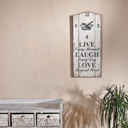 XXL Nostalgie Wanduhr Uhr Board  - Live Laugh Love
