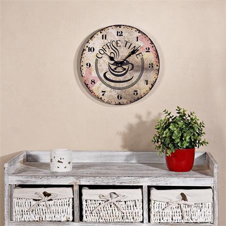 Shabby Wanduhr Uhr aus Holz  - Coffee Time