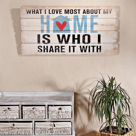 Shabby Wand Bild Board aus Holz Querformat- Home