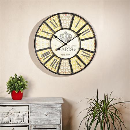 Nostalgie Wanduhr Uhr Holz und Metall beige/gelb