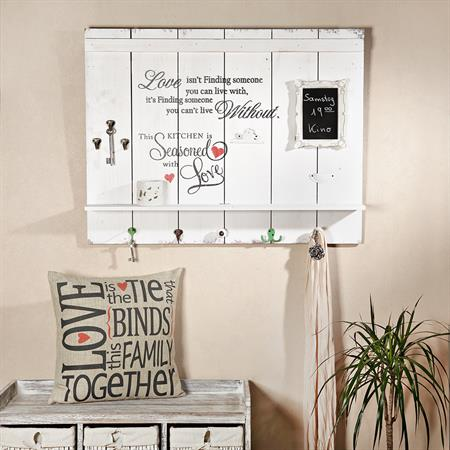 Shabby Wandbild mit Tafel,  Uhr und Haken - Love