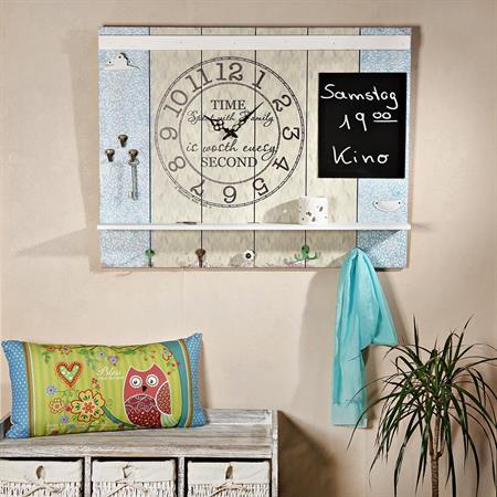 Shabby Wandbild mit Tafel, großer Uhr und Haken