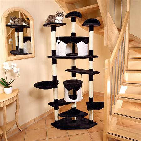 moderner xxl kletterbaum f r katzen in schwarz und wei. Black Bedroom Furniture Sets. Home Design Ideas
