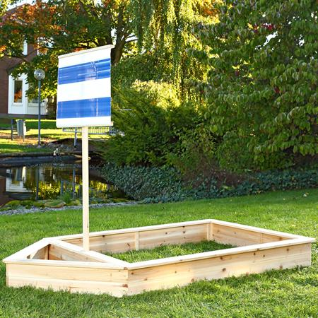 Wooden Pirate Ship Sandbox Kids Childrens Garden Play Boat Sandpit+Sail Blue