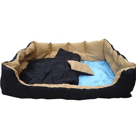 80 cm Dog Pet Animal Bed Sofa Basket + Cushions Beige/Black
