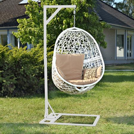 polyrattan swing chair h ngesessel wei. Black Bedroom Furniture Sets. Home Design Ideas