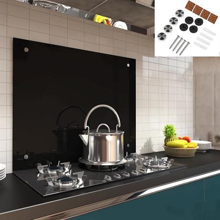 80x55CM GlasKüchenrückwand Spritzschutz - schwarz