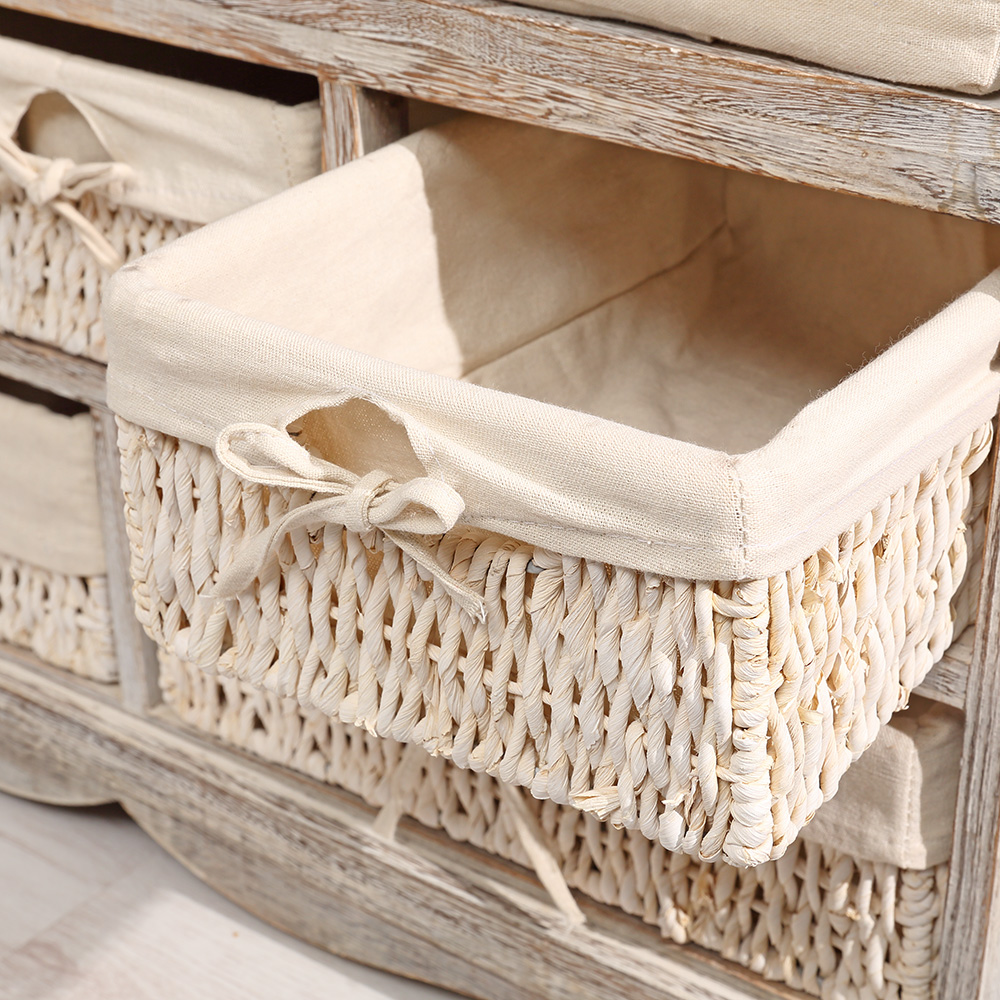 bench chest of drawers 5 baskets shabby chic white bench hallway vintage style cushion ebay