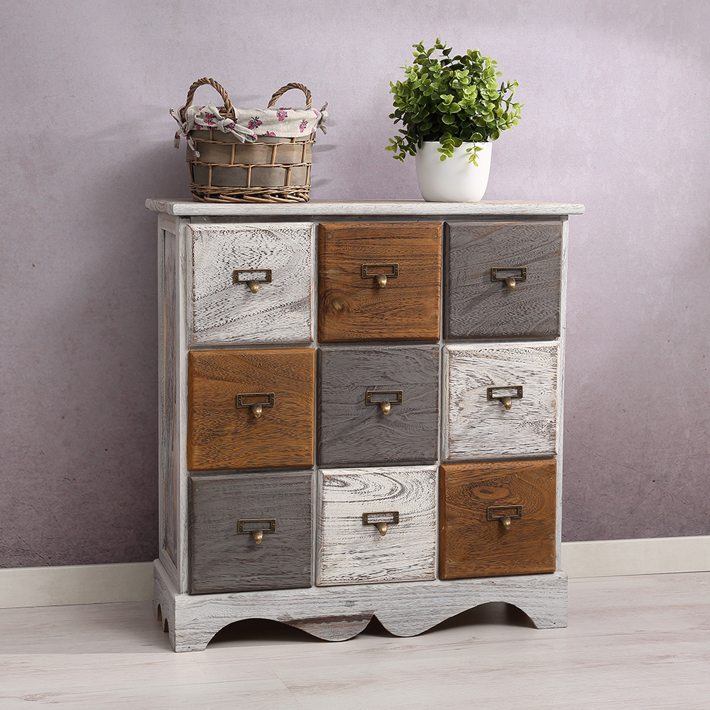 anrichte schrank kommode 9 schubf cher vintage braun grau wei patchwork neu ebay. Black Bedroom Furniture Sets. Home Design Ideas
