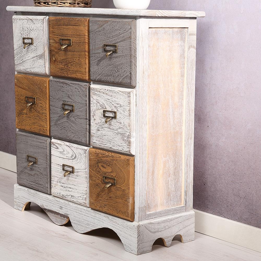 anrichte schrank kommode 9 schubf cher vintage braun grau. Black Bedroom Furniture Sets. Home Design Ideas