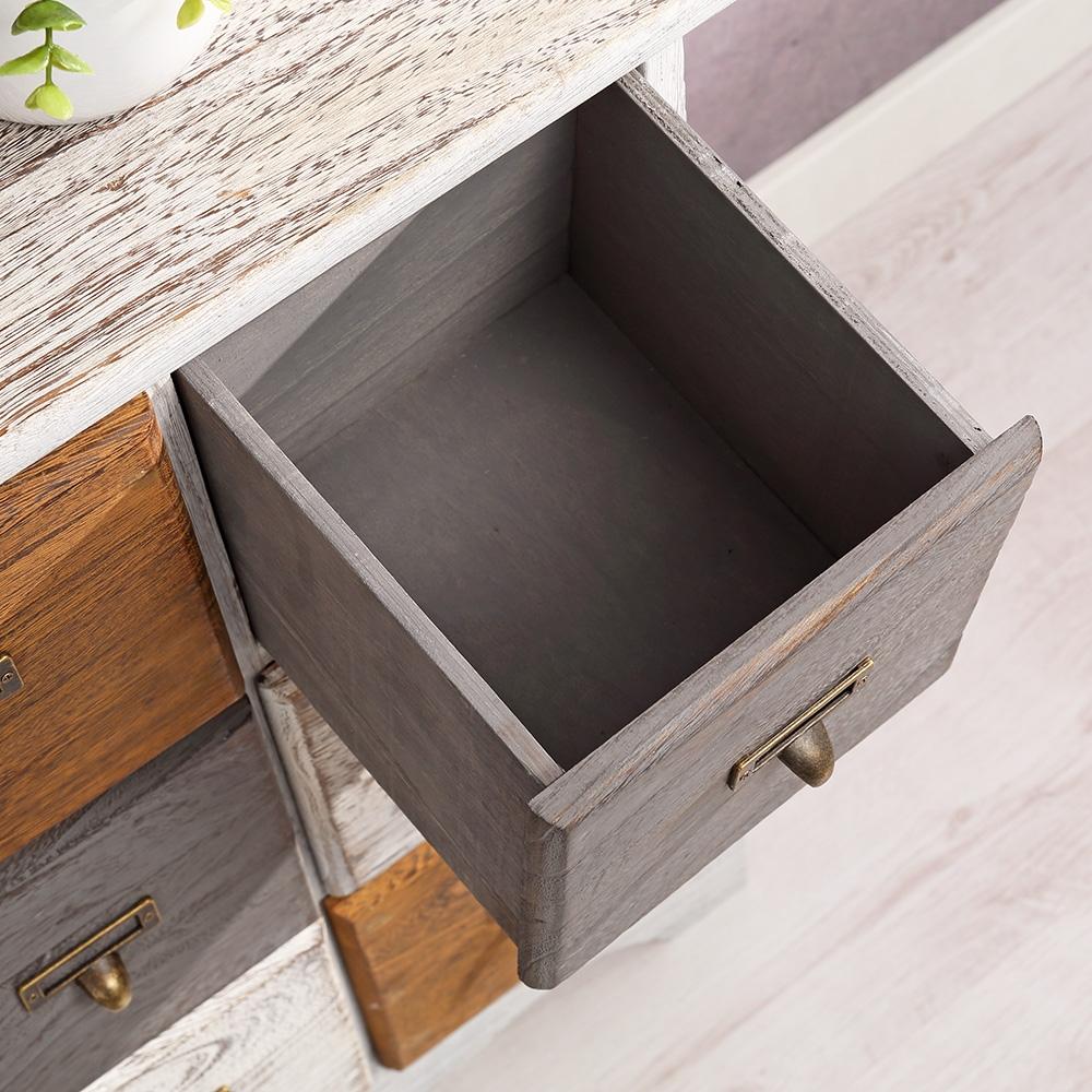 anrichte schrank kommode 9 schubf cher vintage braun grau wei patchwork neu ebay. Black Bedroom Furniture Sets. Home Design Ideas