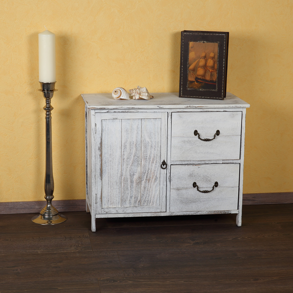 shabby kommode schrank regal sideboard k chenschrank holz vintagestil wei neu ebay. Black Bedroom Furniture Sets. Home Design Ideas