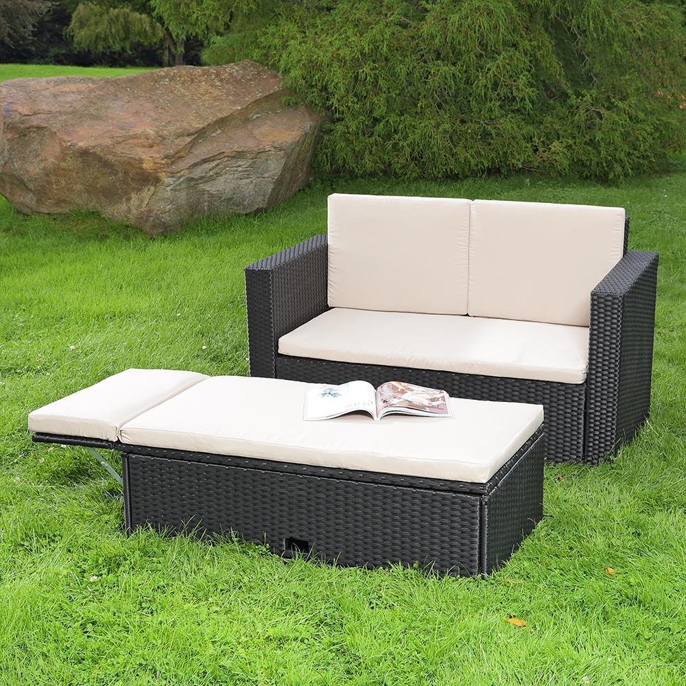 polyrattan gartensofa und klappbare fu bank lounge sessel gartenm bel schwarz ebay. Black Bedroom Furniture Sets. Home Design Ideas