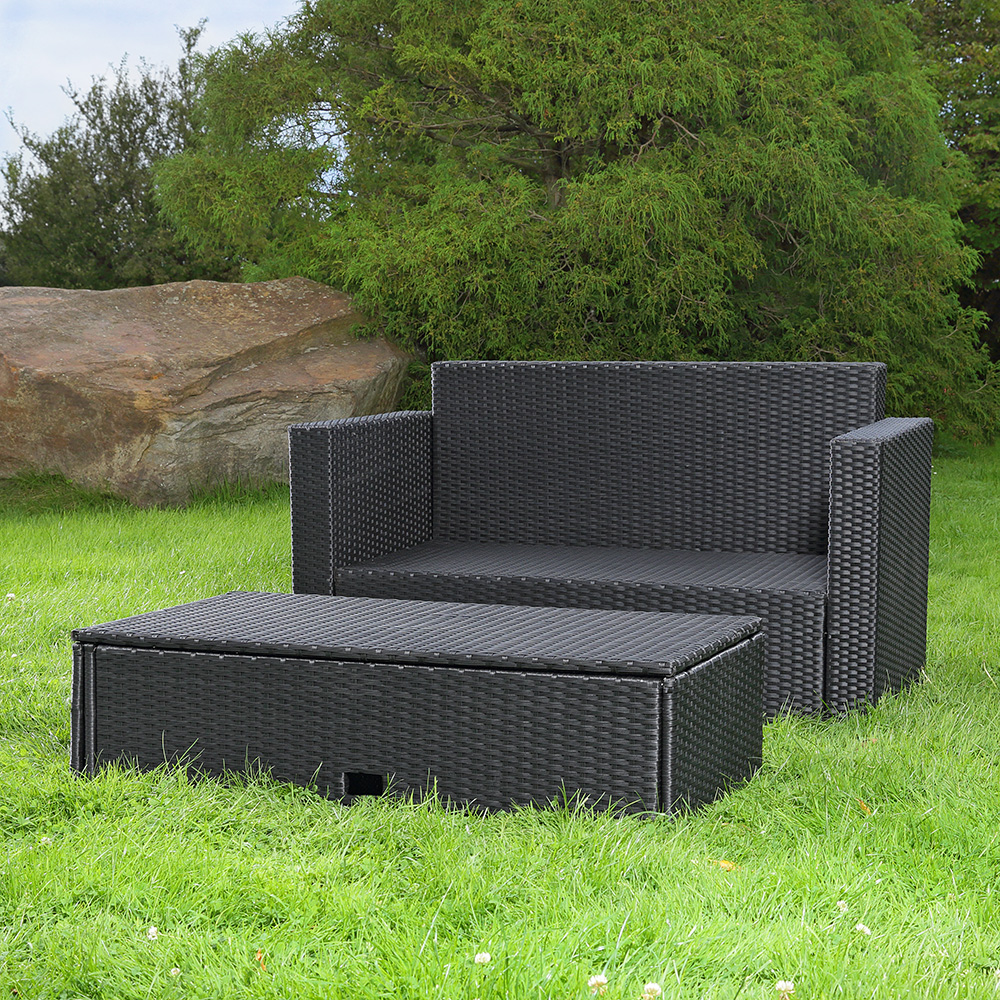 rattan garden sofa and folding footstool lounge chair. Black Bedroom Furniture Sets. Home Design Ideas