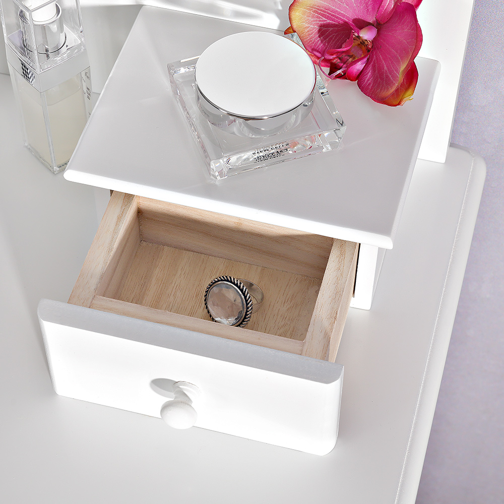 frisiertisch schminktisch sekret r polster hocker schminkkommode spiegel wei ebay. Black Bedroom Furniture Sets. Home Design Ideas