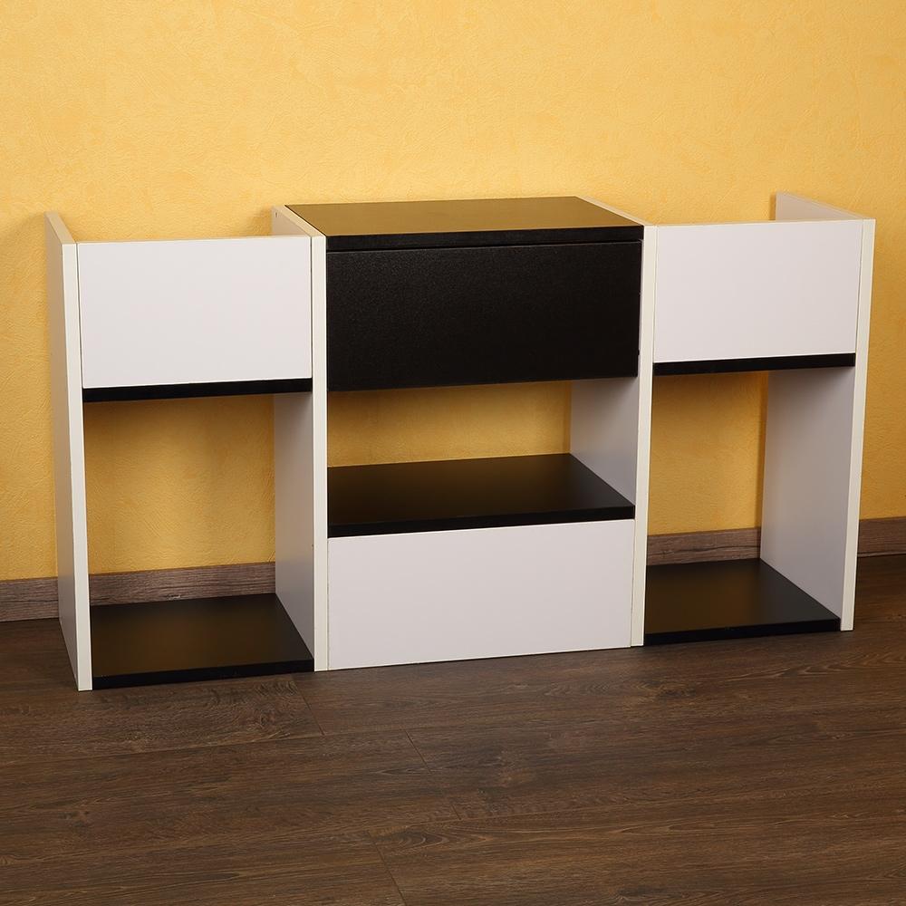 Fernsehtisch Wandregal Standregal Holz weiß//schwarz TV Board mit Ablagefächern
