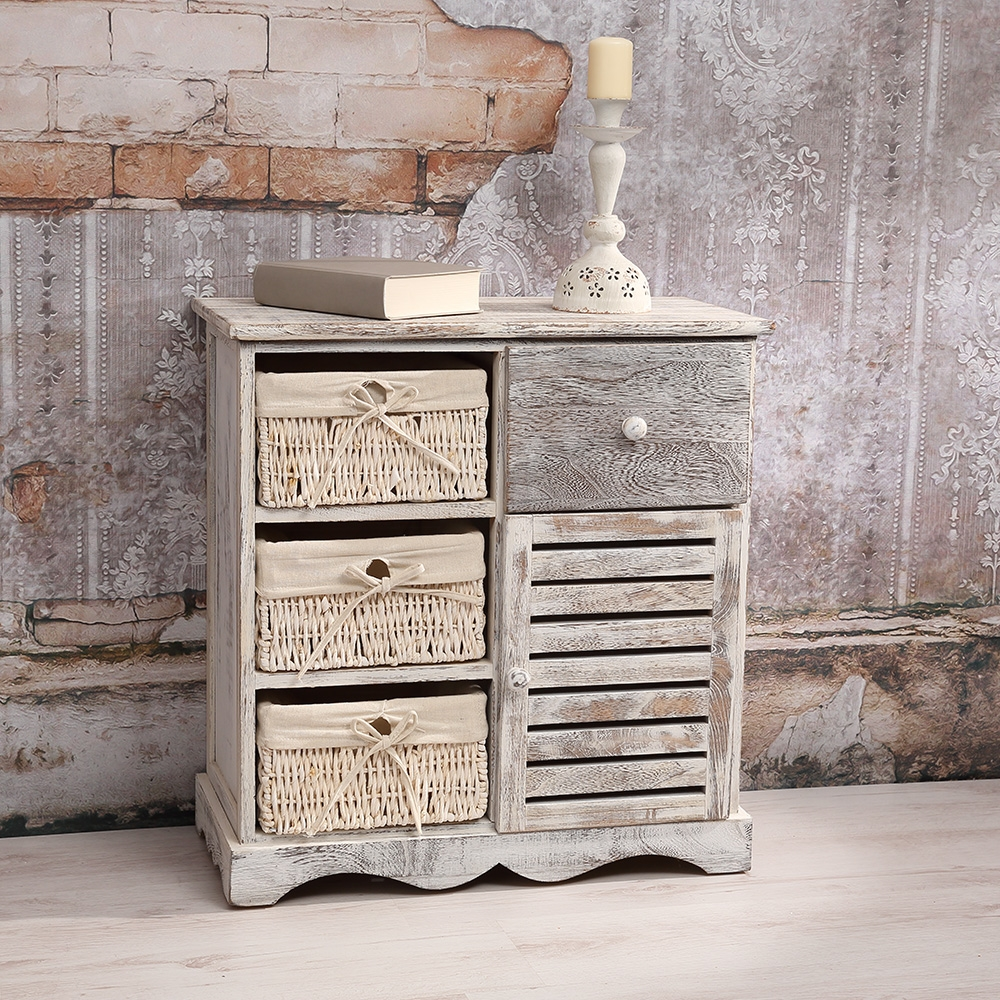 shabby stil kommode schrank mit 3 k rben beig mit t r schublade highboard weis ebay. Black Bedroom Furniture Sets. Home Design Ideas