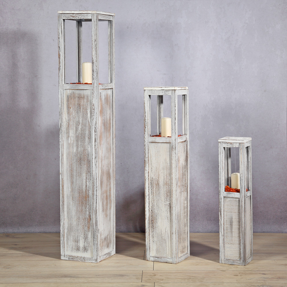 3 tlg set laterne windlicht s ulen rustica kerze holzlaterne windlichtset wei ebay. Black Bedroom Furniture Sets. Home Design Ideas