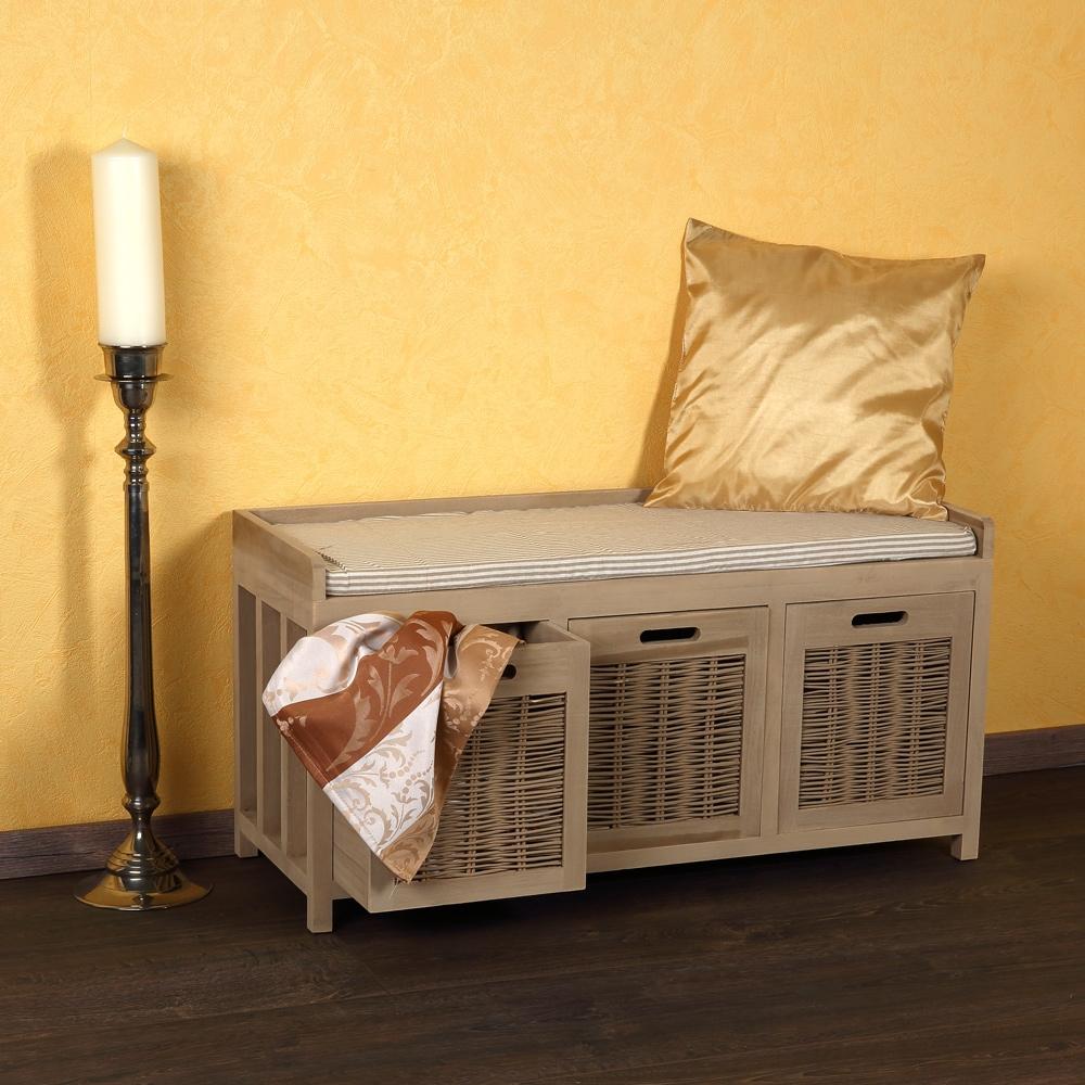 sitzbank mit k rben bank kissen holz bank truhenbank kommode beige landhaus m02 ebay. Black Bedroom Furniture Sets. Home Design Ideas