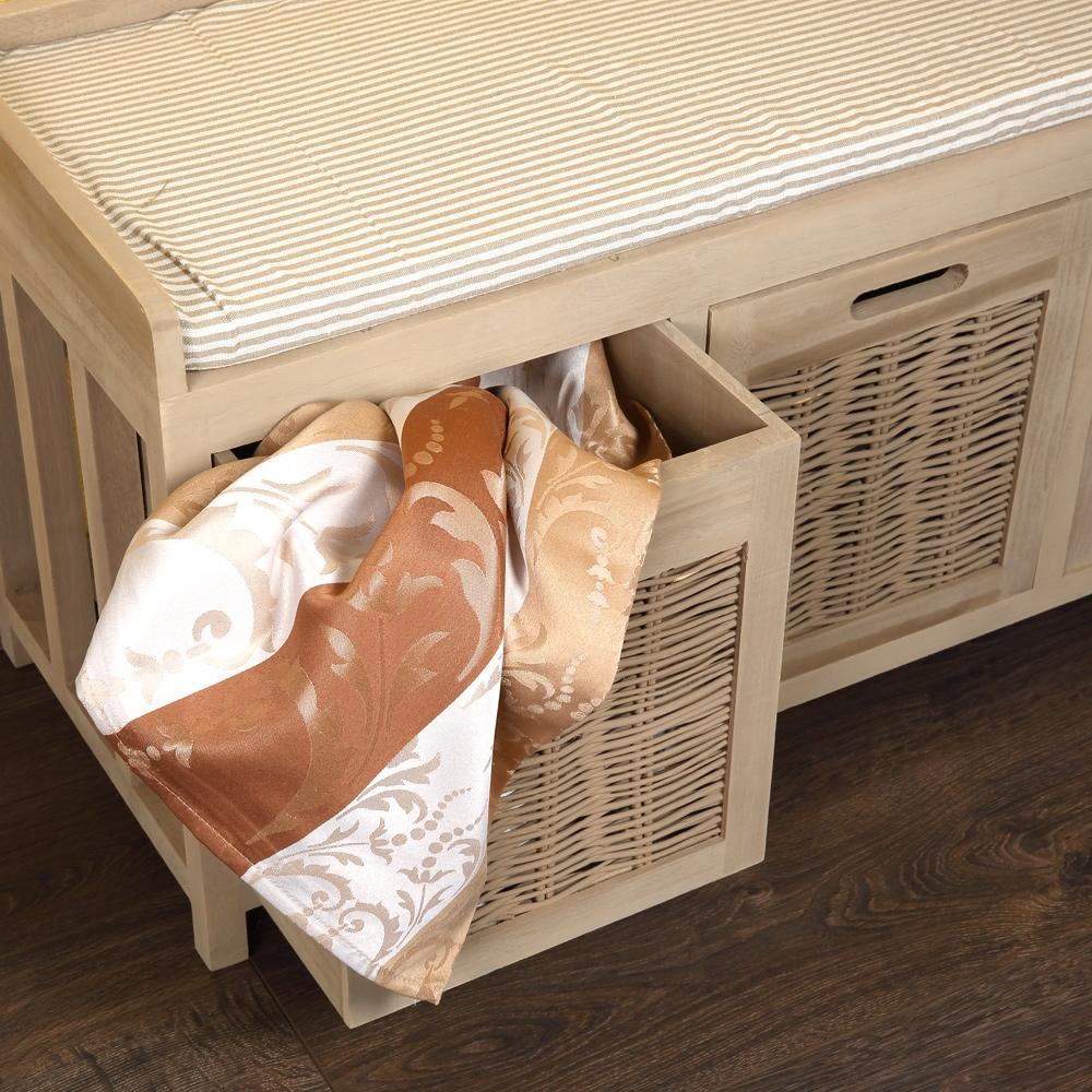 sitzbank mit k rben bank kissen holz bank truhenbank. Black Bedroom Furniture Sets. Home Design Ideas