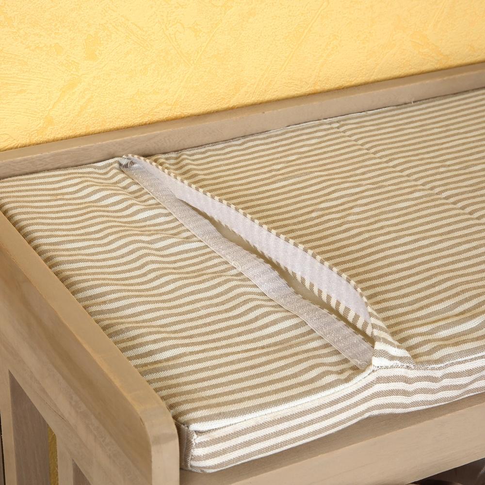 sitzbank mit k rben bank kissen weide holz bank truhenbank kommode beige ebay. Black Bedroom Furniture Sets. Home Design Ideas