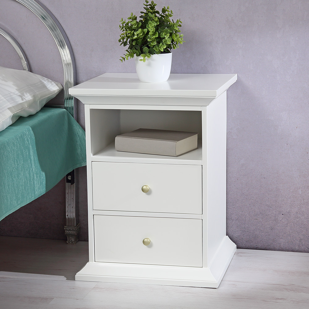 beistelltisch schrank schlafzimmer wei lackiert. Black Bedroom Furniture Sets. Home Design Ideas