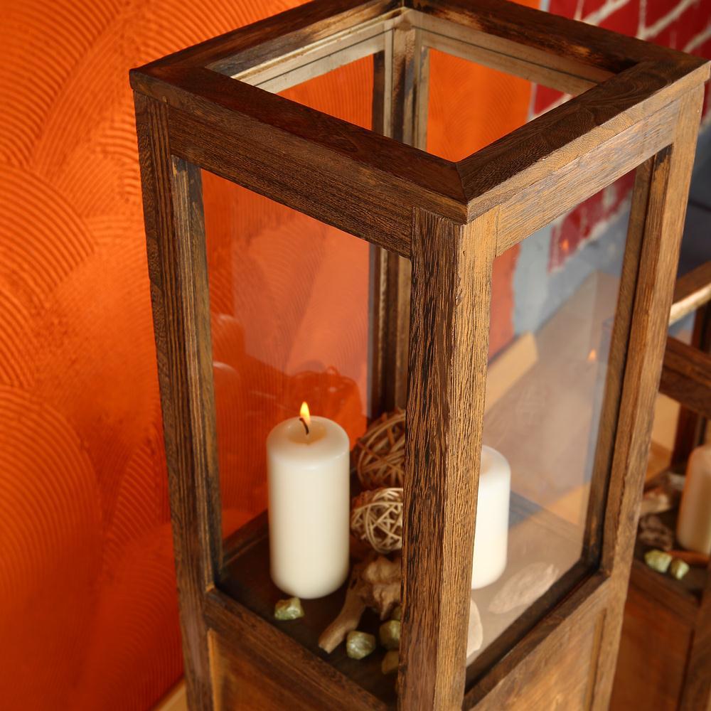 windlichtset 3 tlg set laterne windlicht s ulen rustica kerze holzlaterne braun ebay. Black Bedroom Furniture Sets. Home Design Ideas