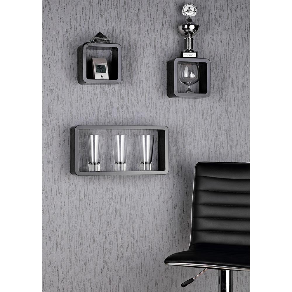 3er set wandregal h ngeregal b cherregal regal cube cd regal board schwarz holz ebay. Black Bedroom Furniture Sets. Home Design Ideas
