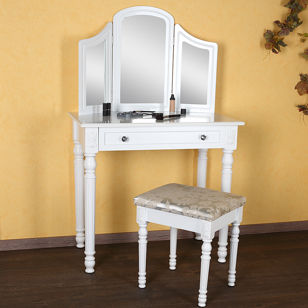 schminktisch hocker spiegel frisierkommode frisiertisch kosmetiktisch wei m01 ebay. Black Bedroom Furniture Sets. Home Design Ideas