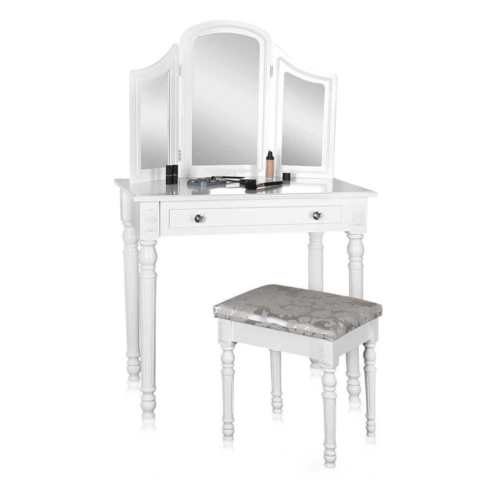 coiffeuse miroir baroque bois blanc coiffeuse coiffeuse moderne ebay. Black Bedroom Furniture Sets. Home Design Ideas