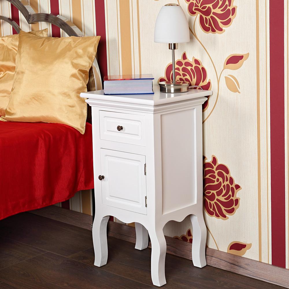 2x landhaus kommode nachttisch nachtschrank schrank wei. Black Bedroom Furniture Sets. Home Design Ideas