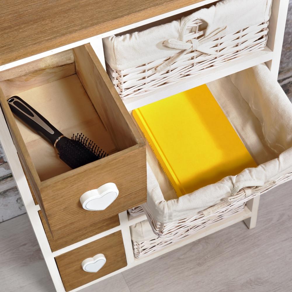 kommode highboard schrank 4 k rbe mit stoffeinlage herzapplikation in wei braun ebay. Black Bedroom Furniture Sets. Home Design Ideas
