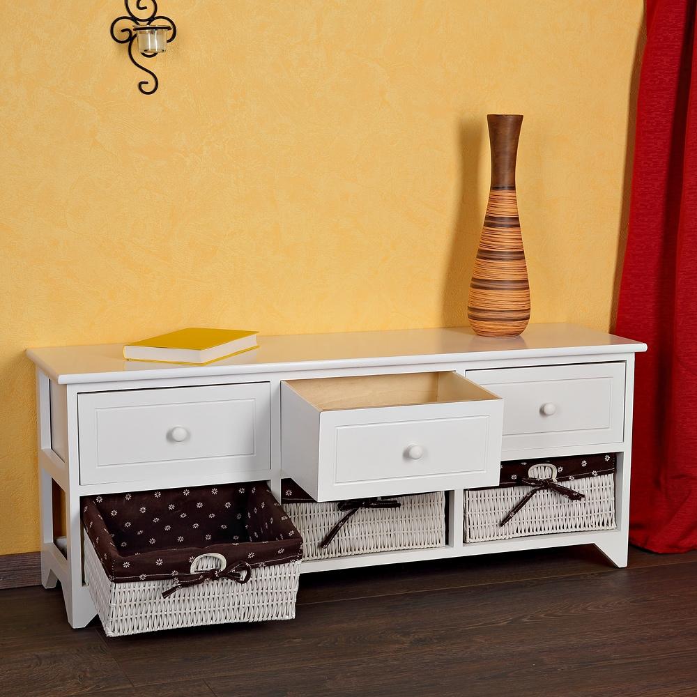 sitzbank 3 schubladen k rbe flur kommode wei landhaus holzbank wei bezug ebay. Black Bedroom Furniture Sets. Home Design Ideas