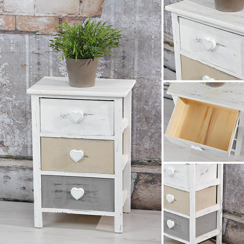 hochregal shabby chic kommode mit 3 schubf chern schrank hochschrank anrichte ebay. Black Bedroom Furniture Sets. Home Design Ideas